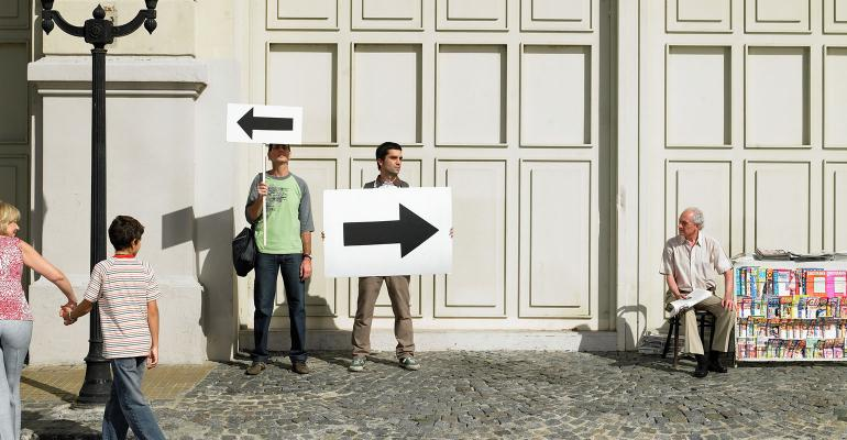 arrows opposite directions