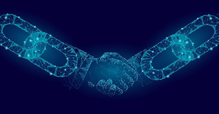 blockchain shaking hands