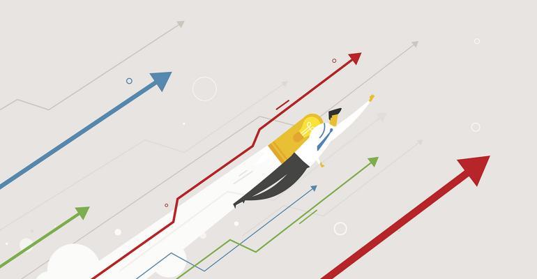 businessman flying jetpack illustration