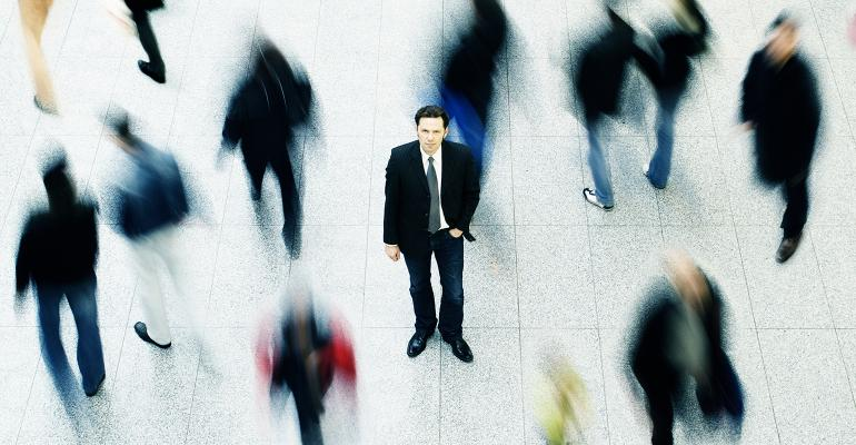 businessman standing out