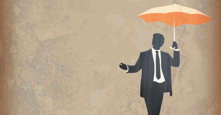 businessman holding umbrella illustration