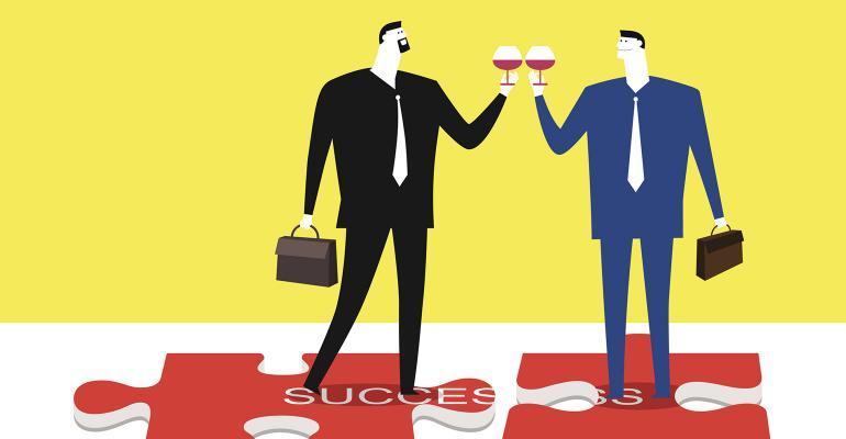 businessmen toasting