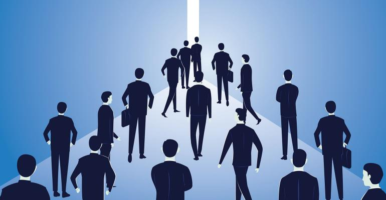 businesspeople walking to light illustration