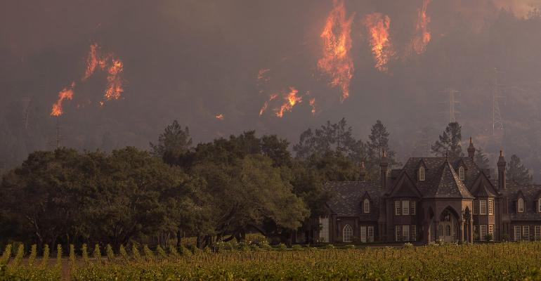 california wildfires winery
