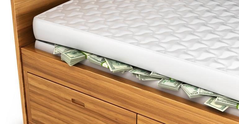 money hiding under mattress