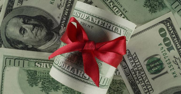 money gift red bow