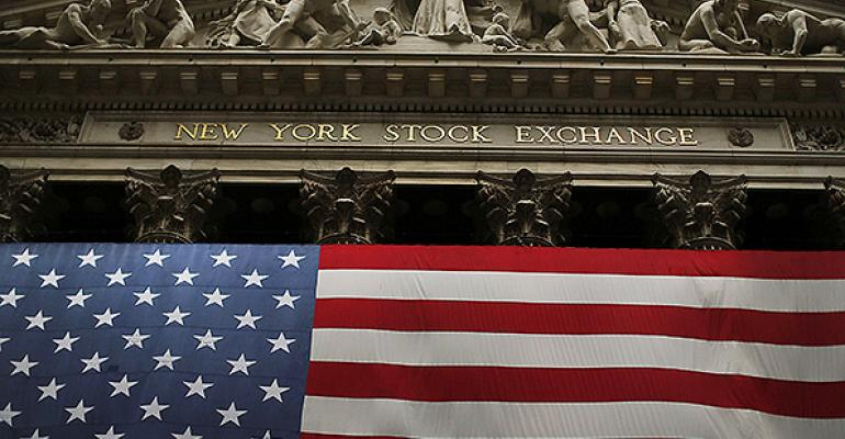 New York Stock Exchange american flag