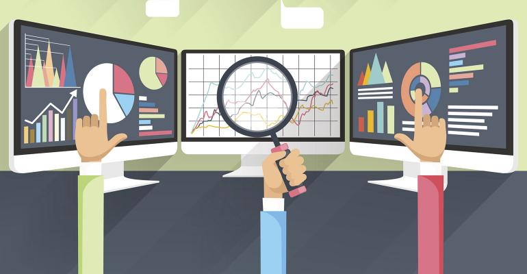 stock market monitors illustration