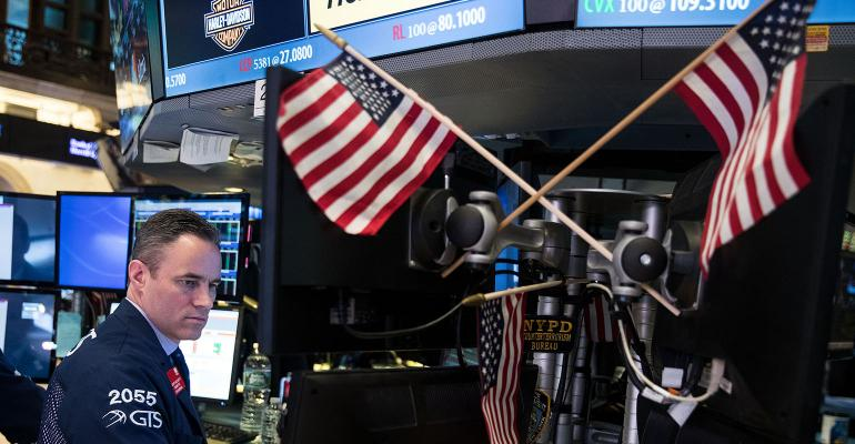 stock market american flags