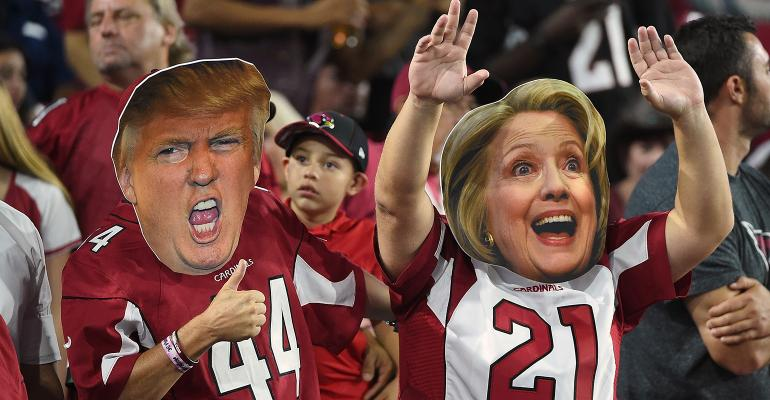 Trump Clinton football game heads