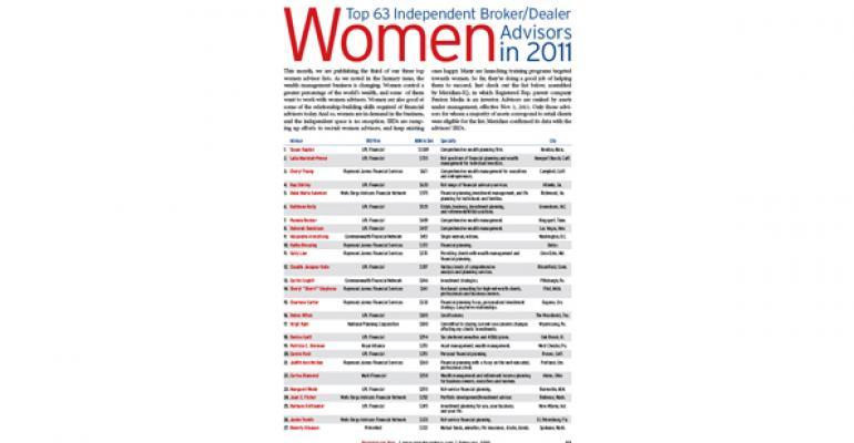 Top 63 Independent Broker/Dealer Women Advisors in 2011