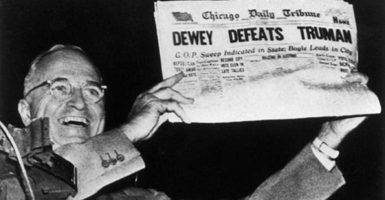 Markets Don't Like Obama; A Redux of Truman Vs. Dewey?