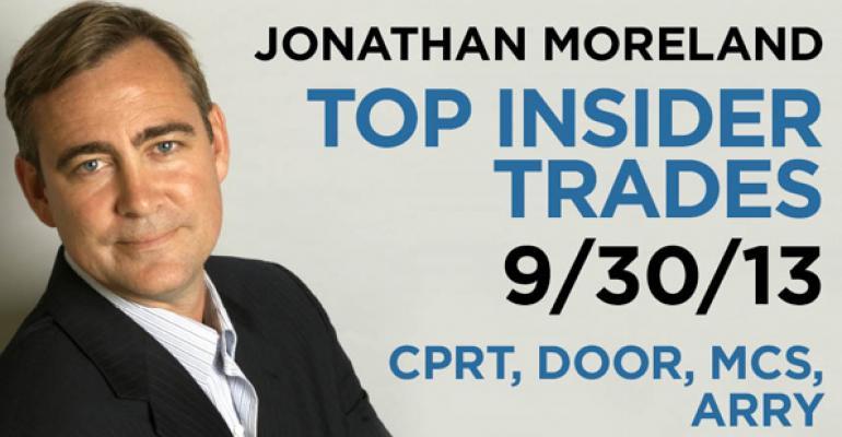 Top Insider Trades 9/30/13: CPRT, DOOR, MCS, ARRY