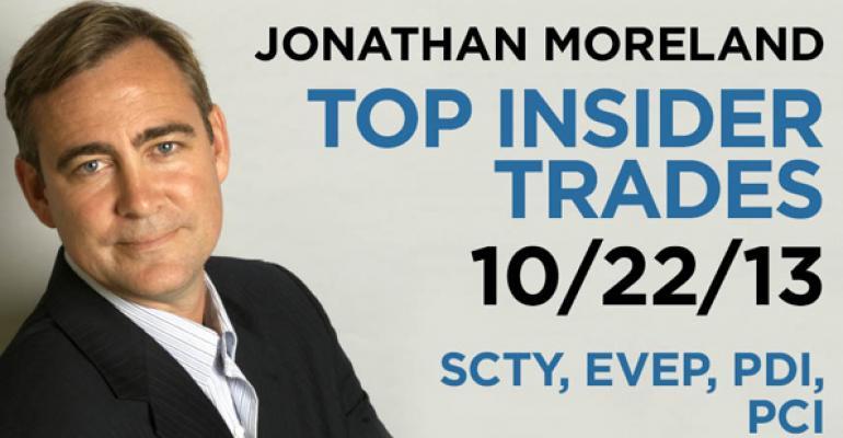 Top Insider Trades 10/22/13: SCTY, EVEP, PDI, PCI