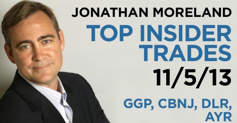 Top Insider Trades 11/5/13: GGP, CBNJ, DLR, AYR