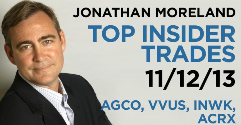 Top Insider Trades 11/12/13: AGCO, VVUS, INWK, ACRX
