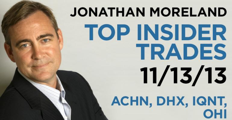 Top Insider Trades 11/13/13: ACHN, DHX, IQNT, OHI