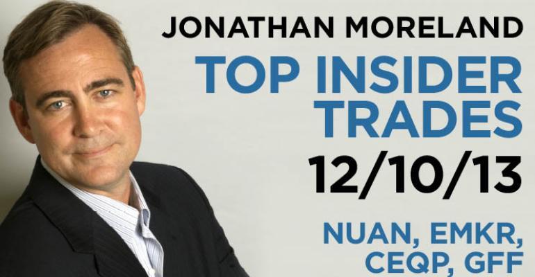 Top Insider Trades 12/10/13: NUAN, EMKR, CEQP, GFF