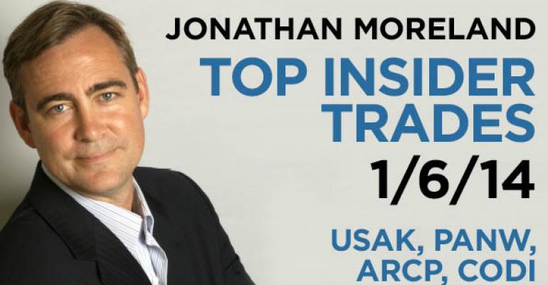 Top Insider Trades 1/6/14: USAK, PANW, ARCP, CODI