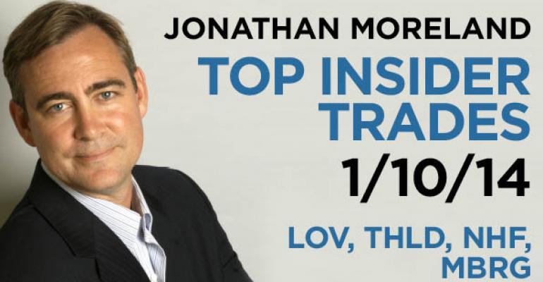 Top Insider Trades 1/10/14: LOV,THLD,  NHF, MBRG