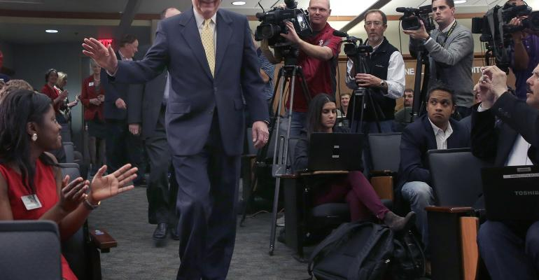 Senate Minority Leader US Sen Mitch McConnell RKY arrives for a press conference at the University of Louisville on Wednesday following the midterm elections