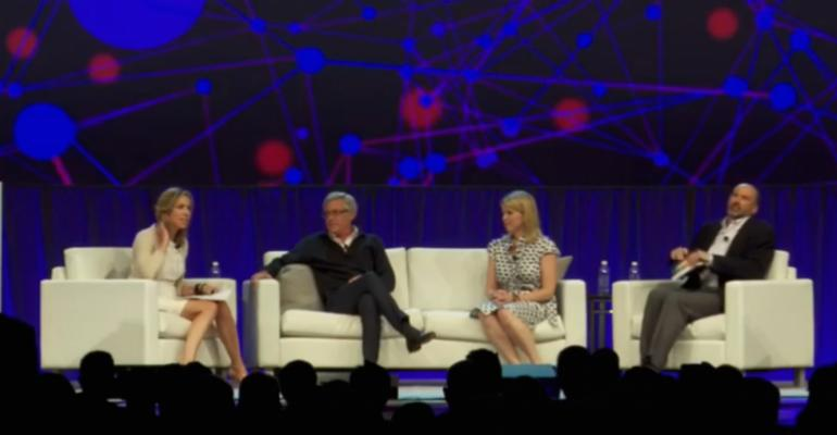 Carol Massar far left cohost of The Bloomberg Advantage moderated a panel focused on digital advice with from left to right Personal Capital CEO Bill Harris Marstone CEO Margaret Hartigan and Brian Walter of the IBM Watson Group