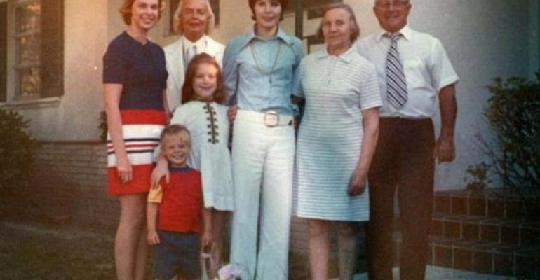 Gigi Carrier Caldwell center and her lover Shirley Cowell who legally adopted her second from left in the back