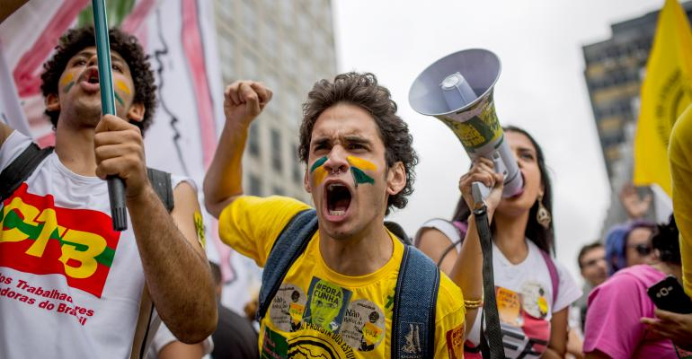 People protest against the impeachment of President Dilma Rousseff on Dec 16 2015 in Sao Paulo Brazil