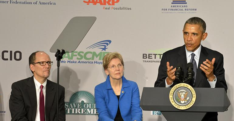 President Obama Sen Elizabeth Warren and Labor Secretary Thomas Perez held a press conference in February 2015 announcing the revival of the fiduciary rule at the AARP39s Washington DC offices