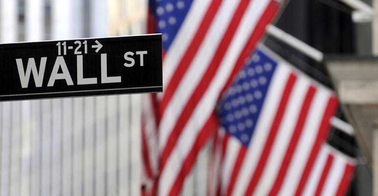 Wall Street American flag