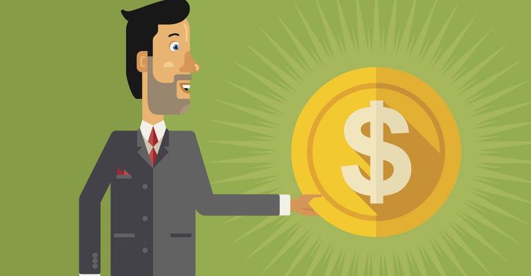 businessman dollar coin