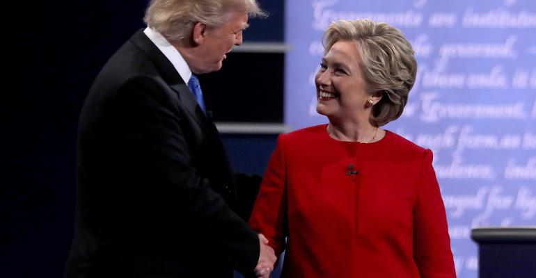 Donald Trump Hillary Clinton shaking hands debate