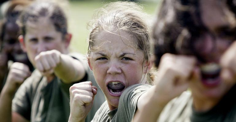 women Marines training