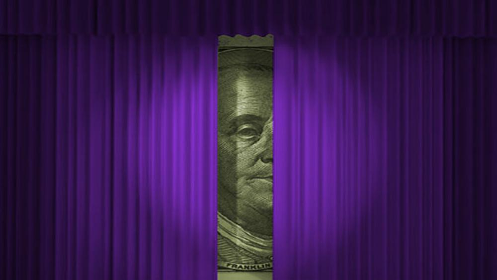 money behind curtain