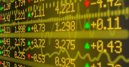 stock market ticker wall yellow