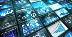 computer screens business data