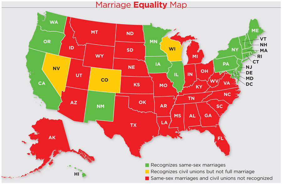 Retirement Benefits And SameSex Couples Wealth Management - Map of same sex marriage in the us